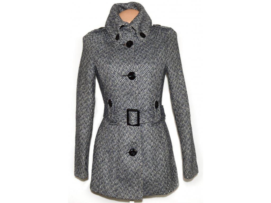 Vlněný dámský černobílý kabát s páskem AMISU M - Coat-Master.cz 14e69fef93b