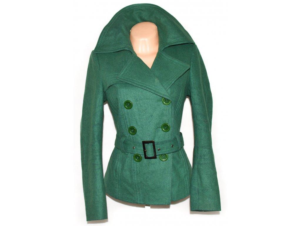 Vlněný dámský zelený kabát s páskem Debenhams M