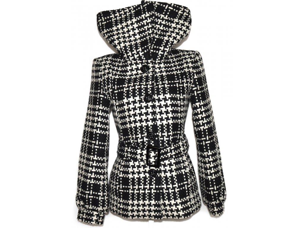 Dámský černobílý kabát s páskem, límcem Sissia M
