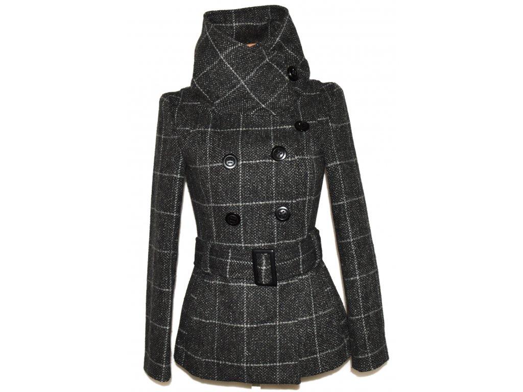 Vlněný dámský šedý kostkovaný kabát s páskem Urban Surface M