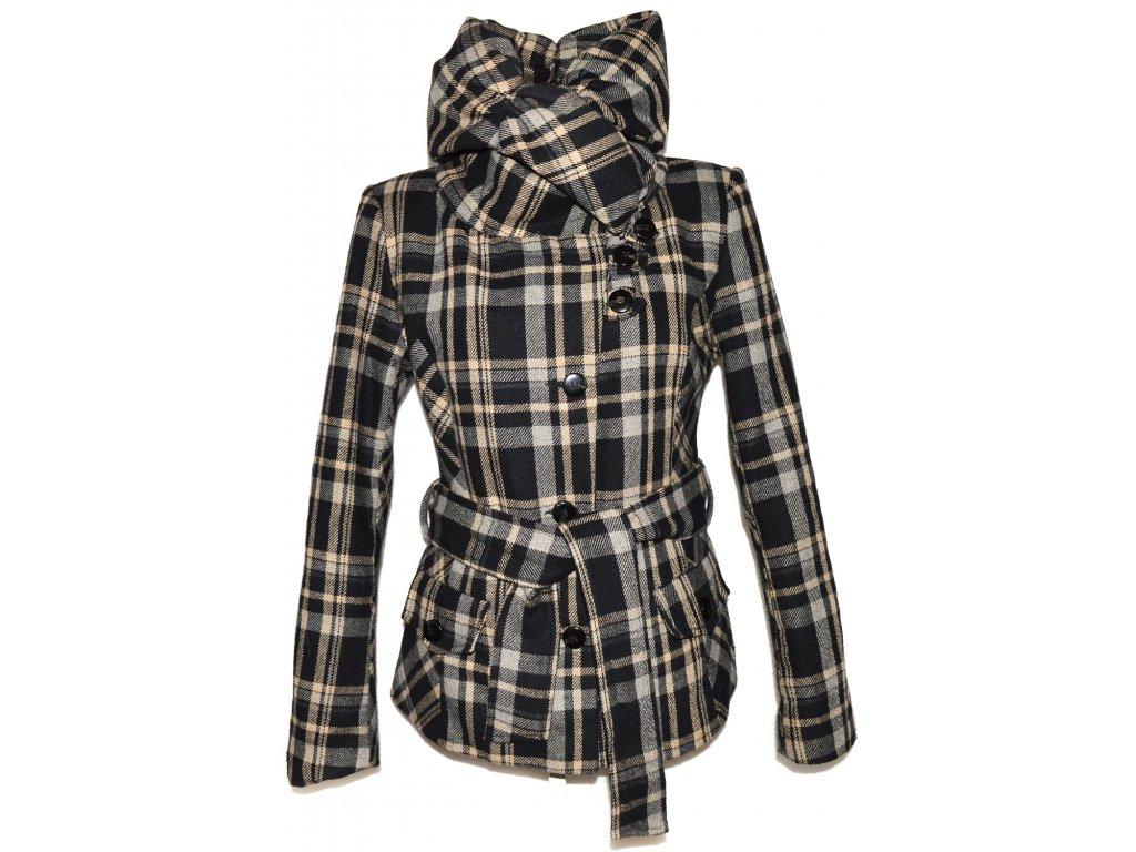 Dámský černo-béžový kabát s páskem a límcem Sublevel L