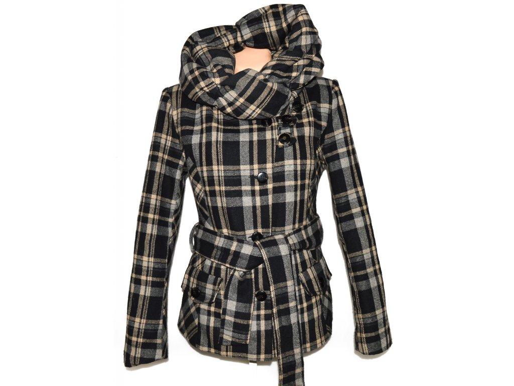 Dámský černo-béžový kabát s páskem a límcem Sublevel L 2