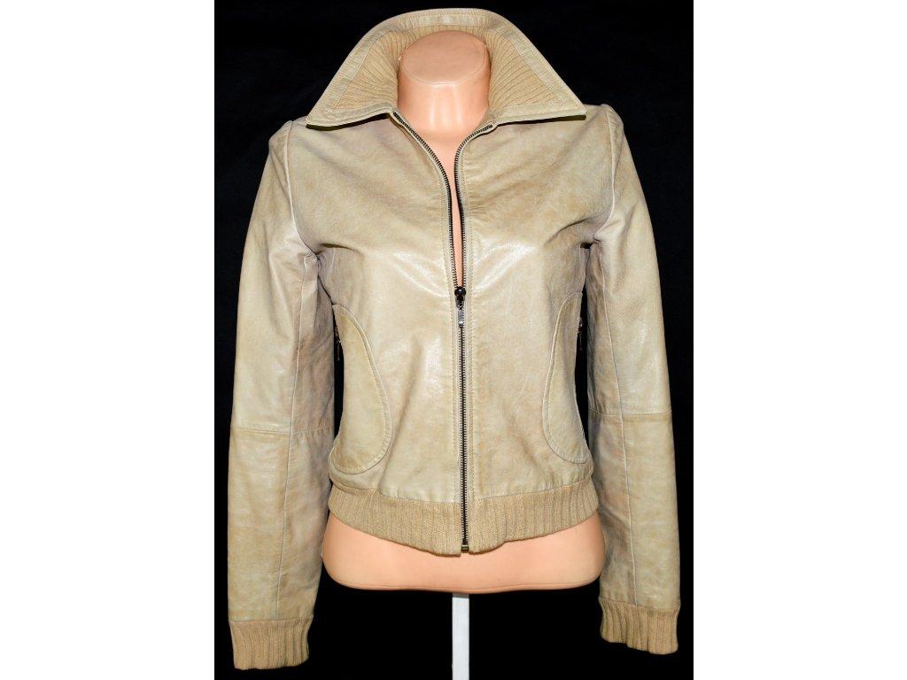 KOŽENÁ dámská béžová bunda na zip STRADIVARIUS S