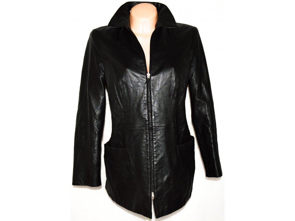 KOŽENÁ dámská měkká černá bunda na zip L/XL