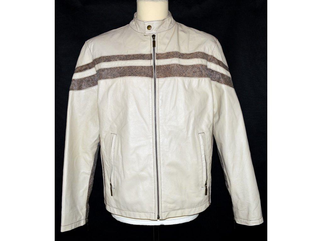 KOŽENÁ pánská béžová bunda s proužky JCCollection M