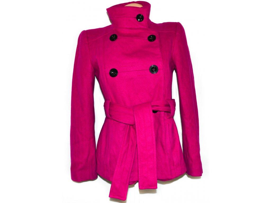 Vlněný (80%) dámský růžový kabát s páskem ZARA M - Coat-Master.cz 5e92124be00