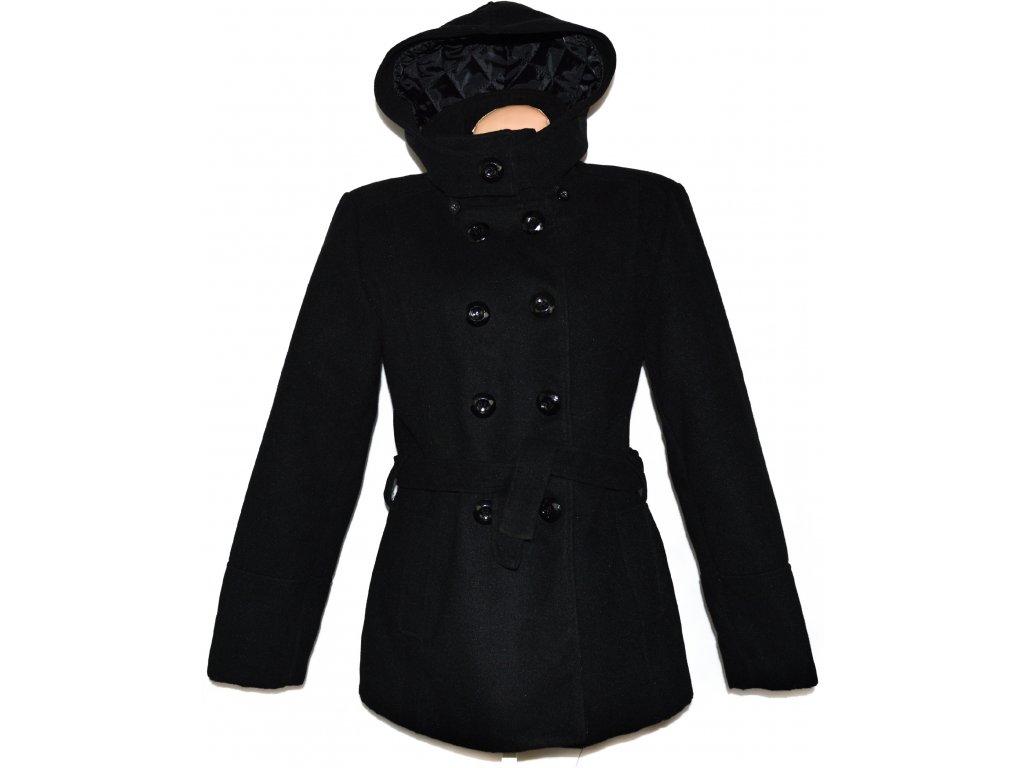 e9ca9e58f5f Vlněný dámský černý kabát s páskem a kapucí XXL - Coat-Master.cz
