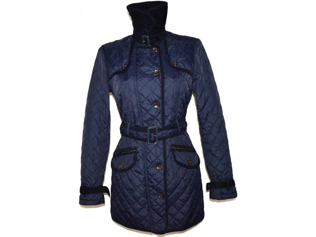 Dámský modrý prošívaný kabát na zip, knoflíky NEXT M