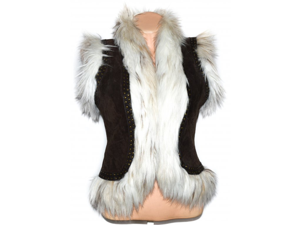 KOŽENÁ dámská hnědá vesta s kožíškem Dorothy Perkins 10 38 - Coat ... 341c03f4a7