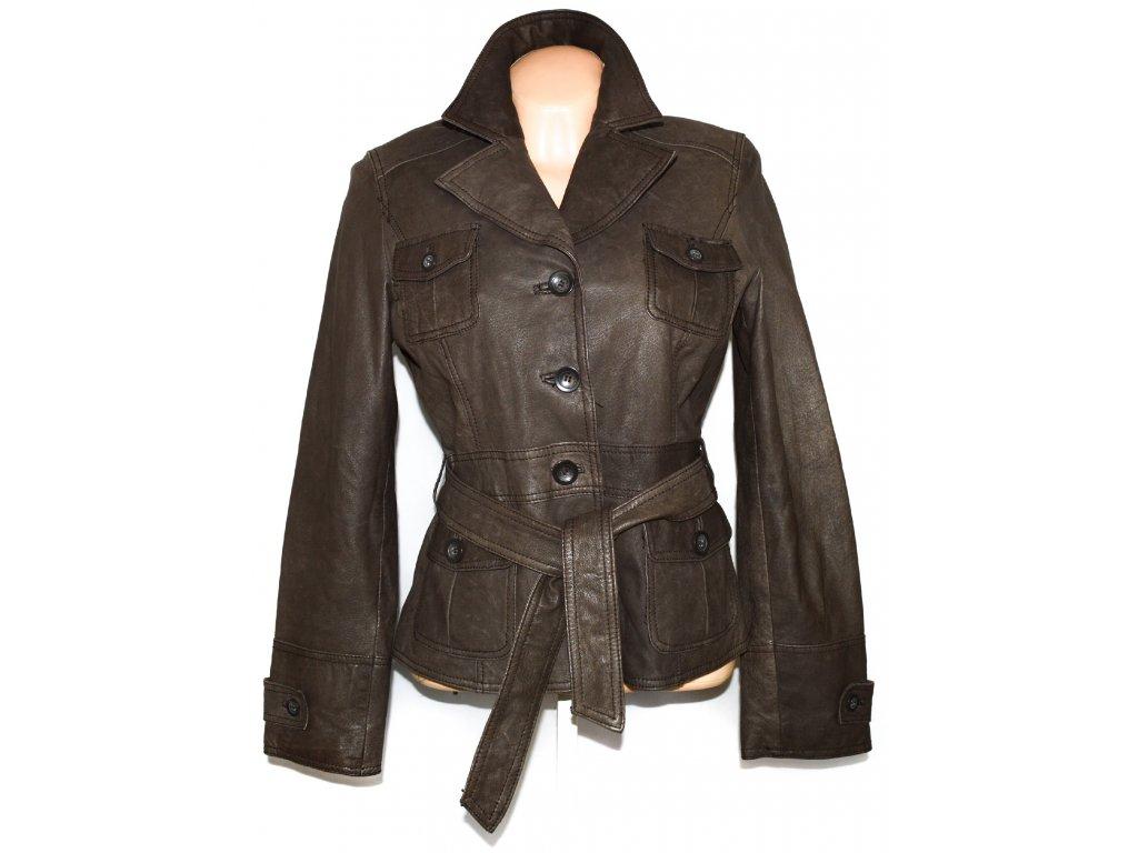 KOŽENÝ dámský měkký hnědý kabát s páskem ORSAY L - Coat-Master.cz 7361581e907