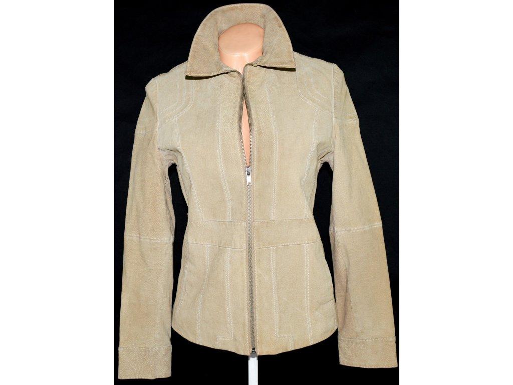 KOŽENÁ dámská broušená béžová bunda na zip WILSONS