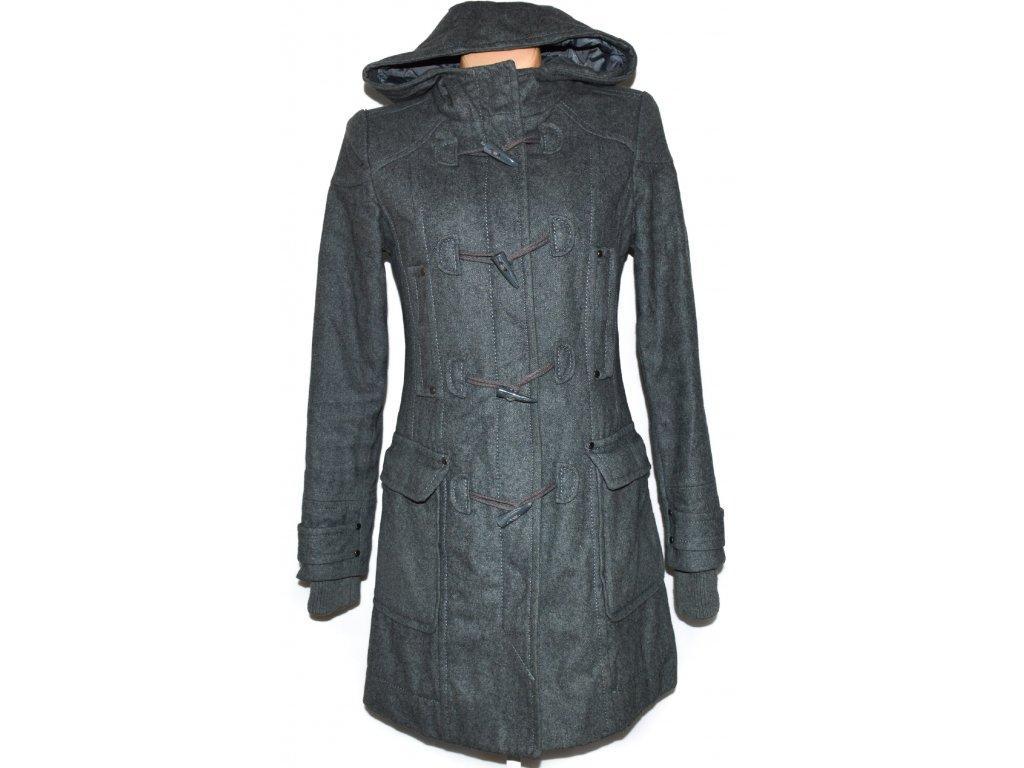Vlněný dámský šedý kabát na zip cfe2b0ec840