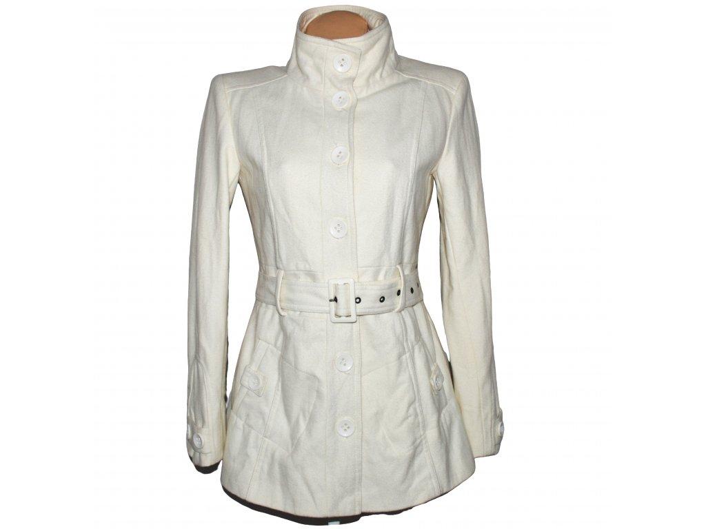 Vlněný dámský bílý kabát s páskem Clockhouse M