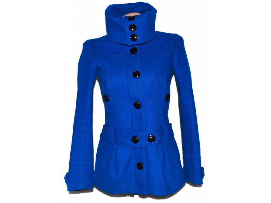 Vlněný dámský modrý kabát H M XS - Coat-Master.cz 1093aad1bd9