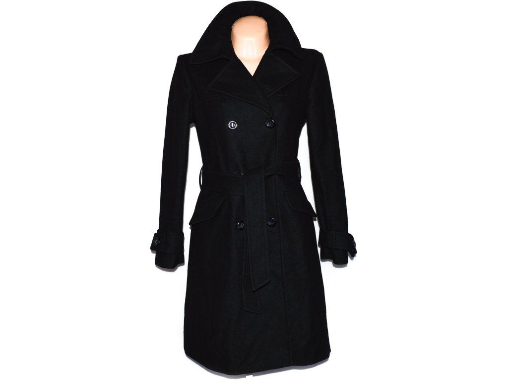 Vlněný (80%) dámský dlouhý černý kabát s páskem Biaggini L - Coat ... b2f584d2b0c