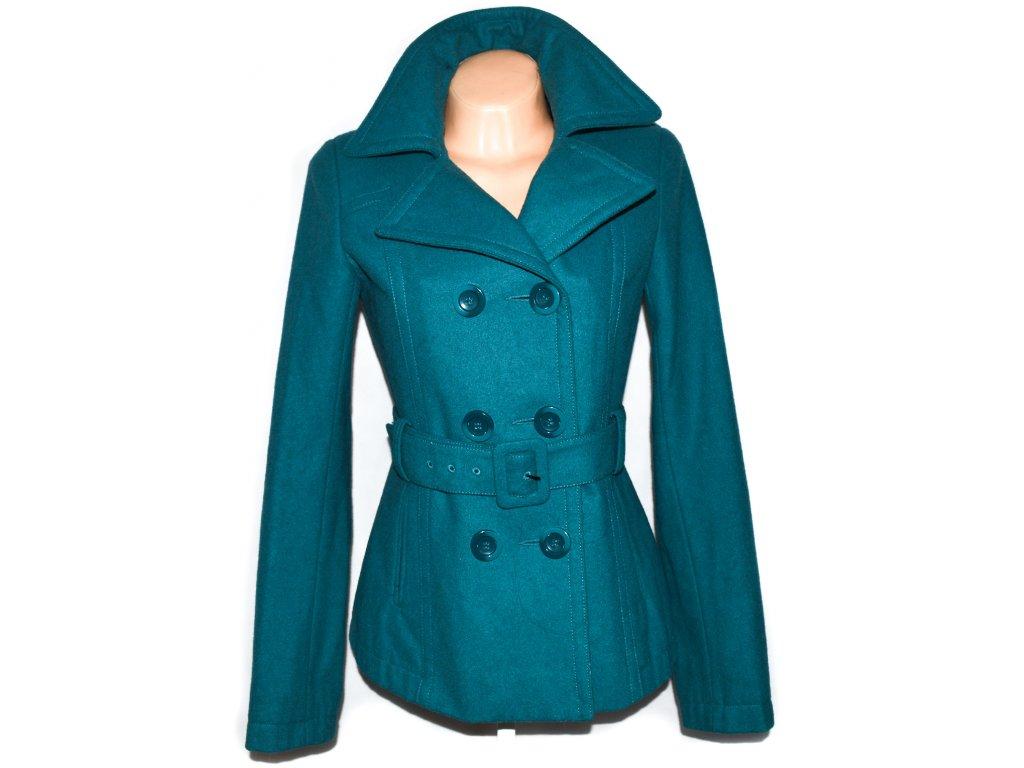 Vlněný dámský tyrkysový kabát s páskem ORSAY 38