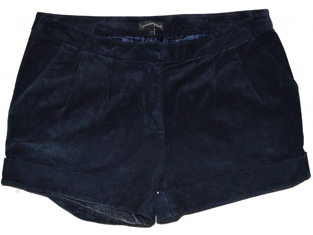 KOŽENÉ dámské broušené modré kraťasy - šortky NEXT 12 40 - Coat ... 3f6802404f