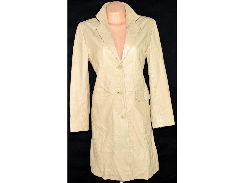 KOŽENÝ dámský měkký žluto-béžový kabát vel. 38