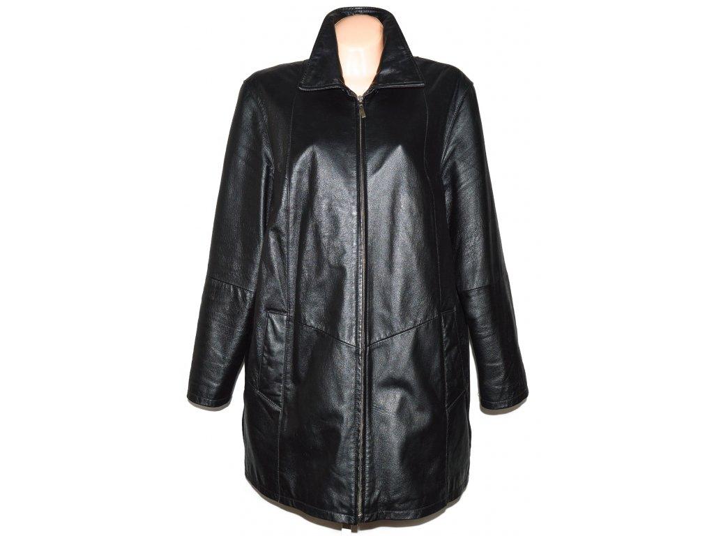 KOŽENÝ dámský černý zateplený kabát Different XL, XXXL