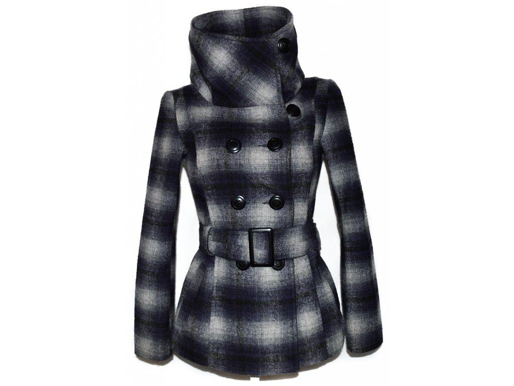 Vlněný dámský kostkovaný kabát s páskem Fresh Made S - Coat-Master.cz 03e989b736