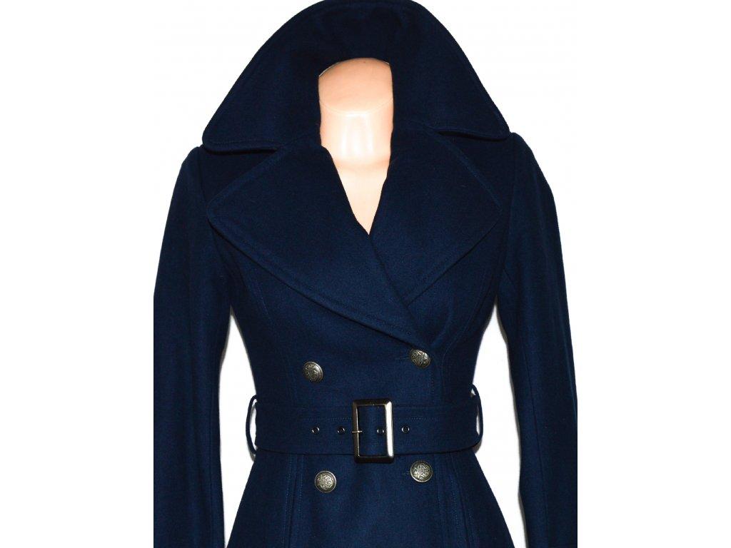 Vlněný dámský modrý kabát s páskem ORSAY XS - Coat-Master.cz b275da8b1f