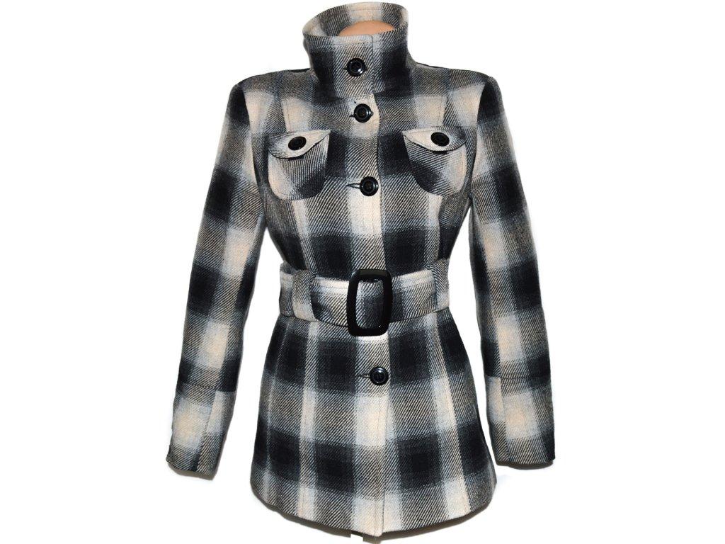 Vlněný dámský kostkovaný kabát s páskem Kaja M L - Coat-Master.cz 4b795f0034