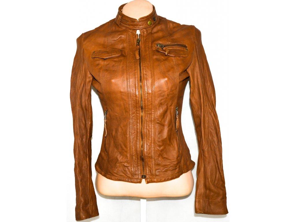 KOŽENÁ dámská hnědá bunda na zip 36