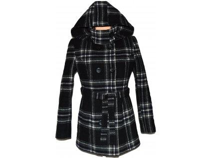 Vlněný dámský zateplený kabát s páskem a kapucí 40