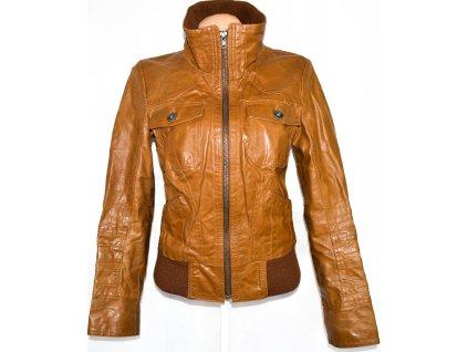 KOŽENÁ dámská hnědá bunda na zip ONLY S