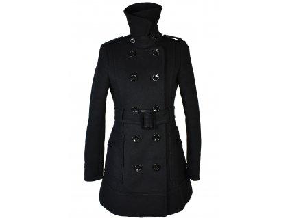 Vlněný (80%) dámský černý zimní kabát s páskem H&M S