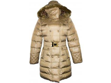 Dámský béžový šusťákový kabát s páskem a kapucí S/36