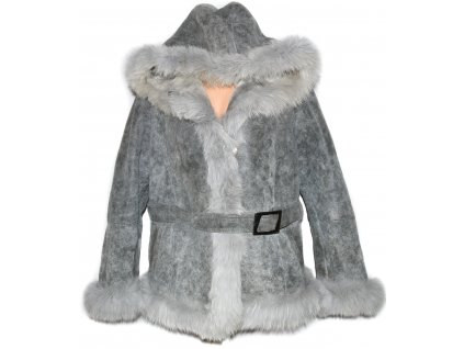 KOŽENÝ dámský šedý kabát s kožíškem a páskem XXL