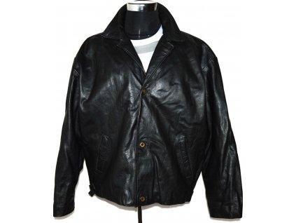 KOŽENÁ pánská černá zateplená bunda na zip, knoflíky XL