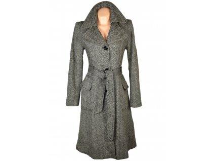 Vlněný dámský hnědý dlouhý kabát s páskem H&M 42