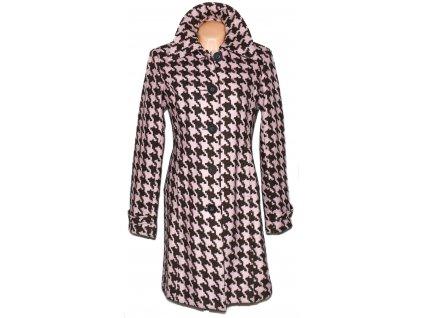 Vlněný dámský hnědorůžový kabát Vero Moda - kohoutí stopa L