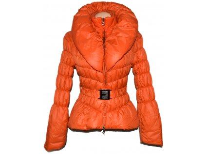 Dámský oranžový šusťákový kabát s páskem a límcem M