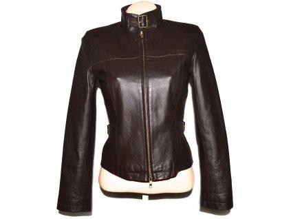 KOŽENÁ dámská měkká hnědá bunda na zip S, M, XL
