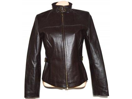 KOŽENÁ dámská měkká hnědá bunda na zip M, XL