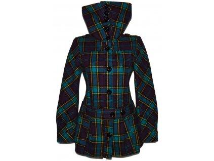 Vlněný dámský zeleno fialový kabát s páskem H&M L