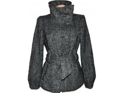 Vlněný dámský melírovaný kabát s páskem H&M 40