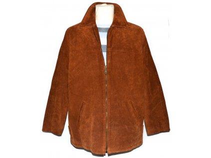KOŽENÁ pánská cihlová bunda na zip Front Line L