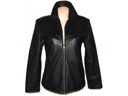 KOŽENÁ dámská černá měkká zateplená bunda na zip PARIS