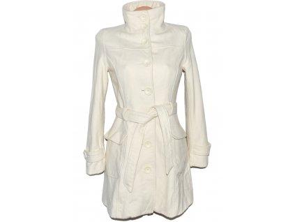 Vlněný (61%) dámský bílý kabát s páskem ORSAY 36, 38