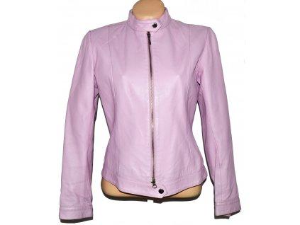 KOŽENÁ dámská růžová měkká bunda na zip L
