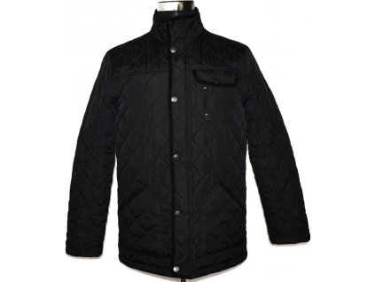 Pánská černá prošívaná bunda na zip GEORGE S