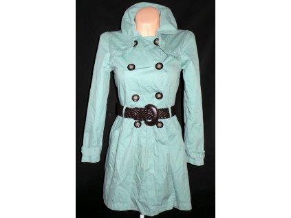 Bavlněný dámský zelený kabát s páskem NEW LOOK