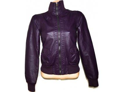 Dámská fialová koženková bunda XS
