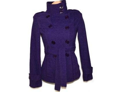 Dámský fialový kabát s páskem S