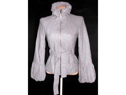 Vlněný dámský šedý kabát s páskem AX PARIS S