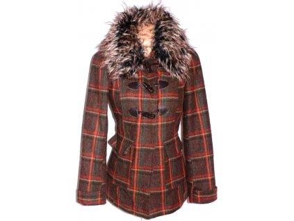 Dámský hnědooranžový kabát s kožíškem na vidlice M